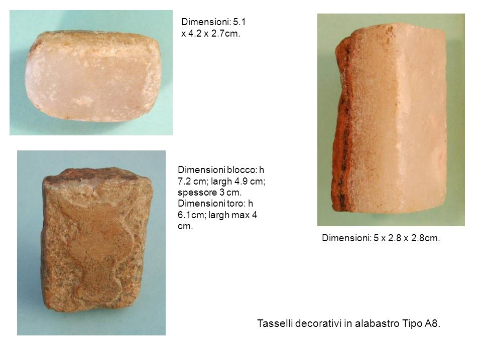 Tasselli decorativi in alabastro Tipo A8.