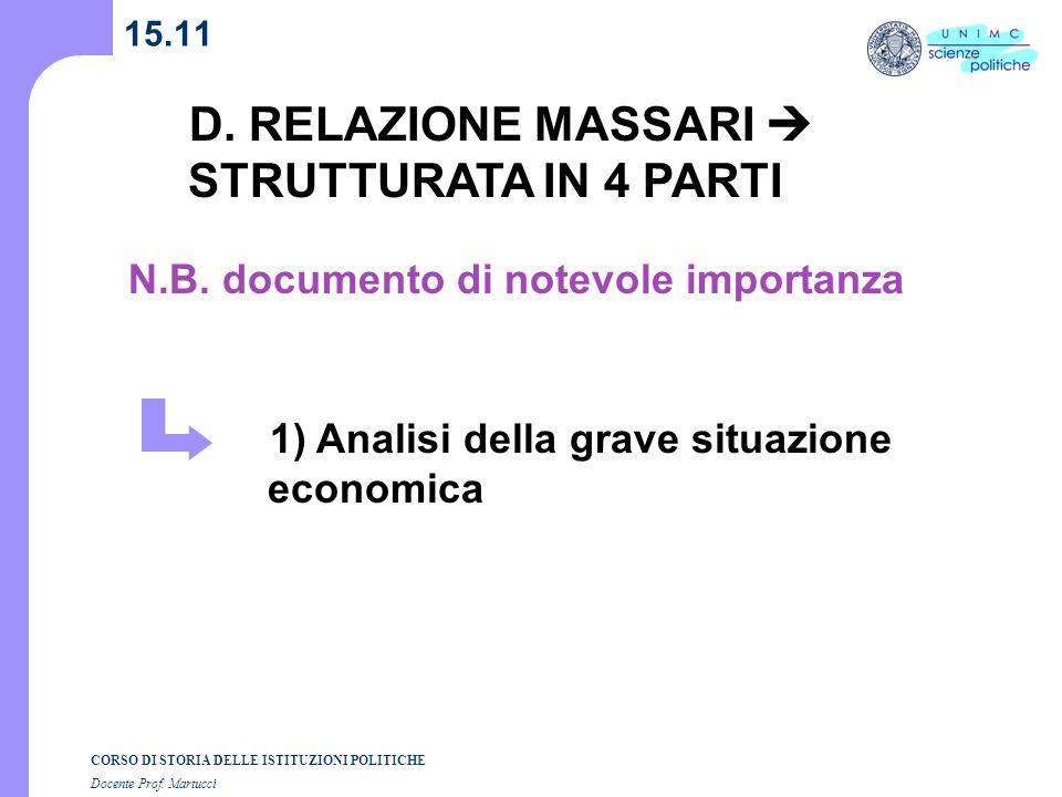D. RELAZIONE MASSARI  STRUTTURATA IN 4 PARTI