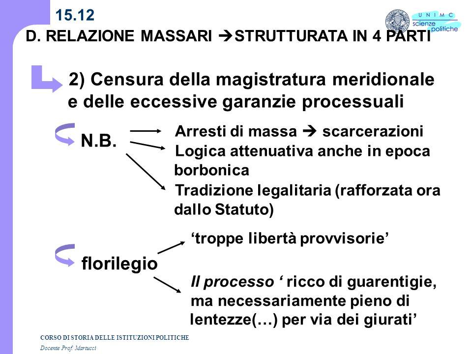 15.12 D. RELAZIONE MASSARI STRUTTURATA IN 4 PARTI. 2) Censura della magistratura meridionale e delle eccessive garanzie processuali.