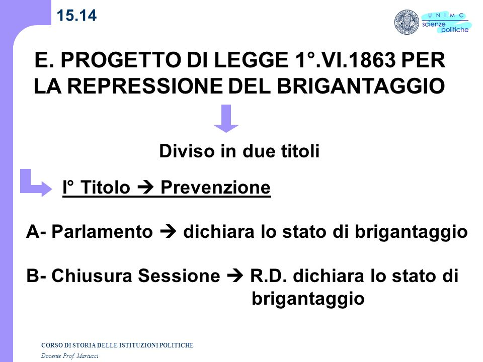 E. PROGETTO DI LEGGE 1°.VI.1863 PER LA REPRESSIONE DEL BRIGANTAGGIO