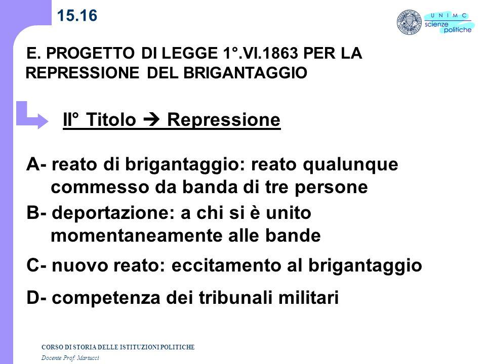 II° Titolo  Repressione