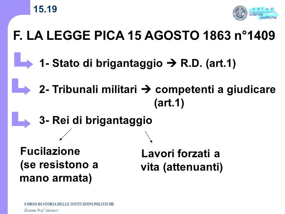 F. LA LEGGE PICA 15 AGOSTO 1863 n°1409