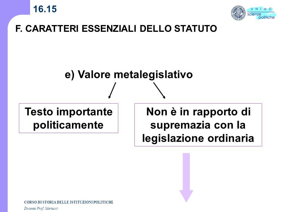 e) Valore metalegislativo