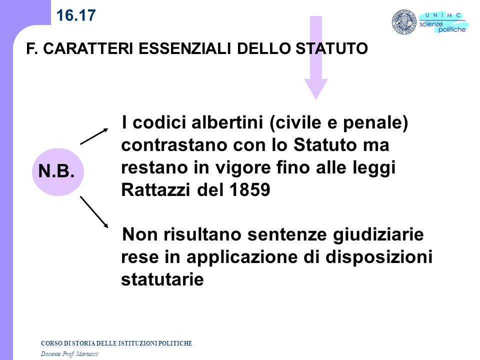16.17 F. CARATTERI ESSENZIALI DELLO STATUTO.