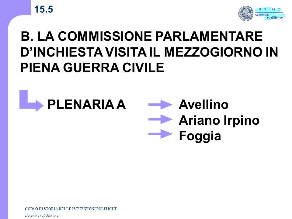 15.5 B. LA COMMISSIONE PARLAMENTARE D'INCHIESTA VISITA IL MEZZOGIORNO IN PIENA GUERRA CIVILE. PLENARIA A.