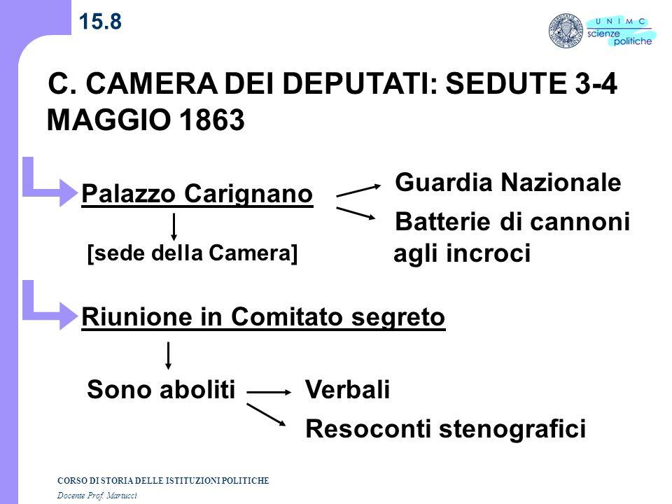 C. CAMERA DEI DEPUTATI: SEDUTE 3-4 MAGGIO 1863