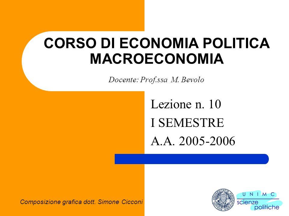CORSO DI ECONOMIA POLITICA MACROECONOMIA Docente: Prof.ssa M. Bevolo