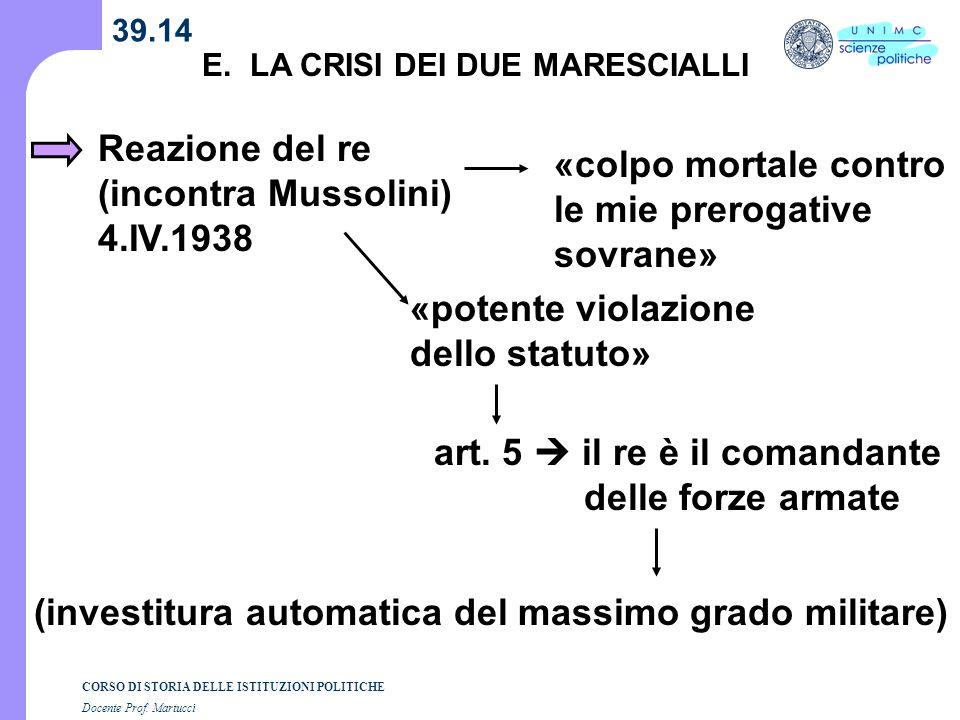 Reazione del re (incontra Mussolini) 4.IV.1938