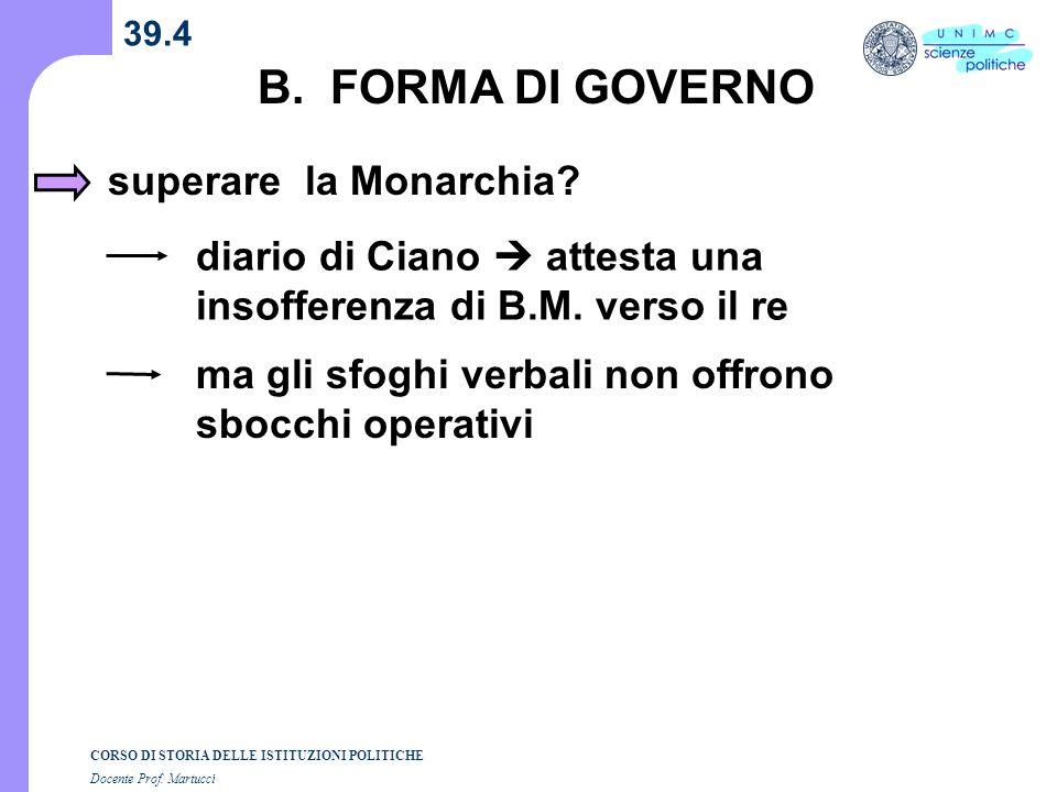 B. FORMA DI GOVERNO superare la Monarchia