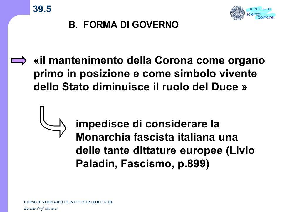 39.5 B. FORMA DI GOVERNO.