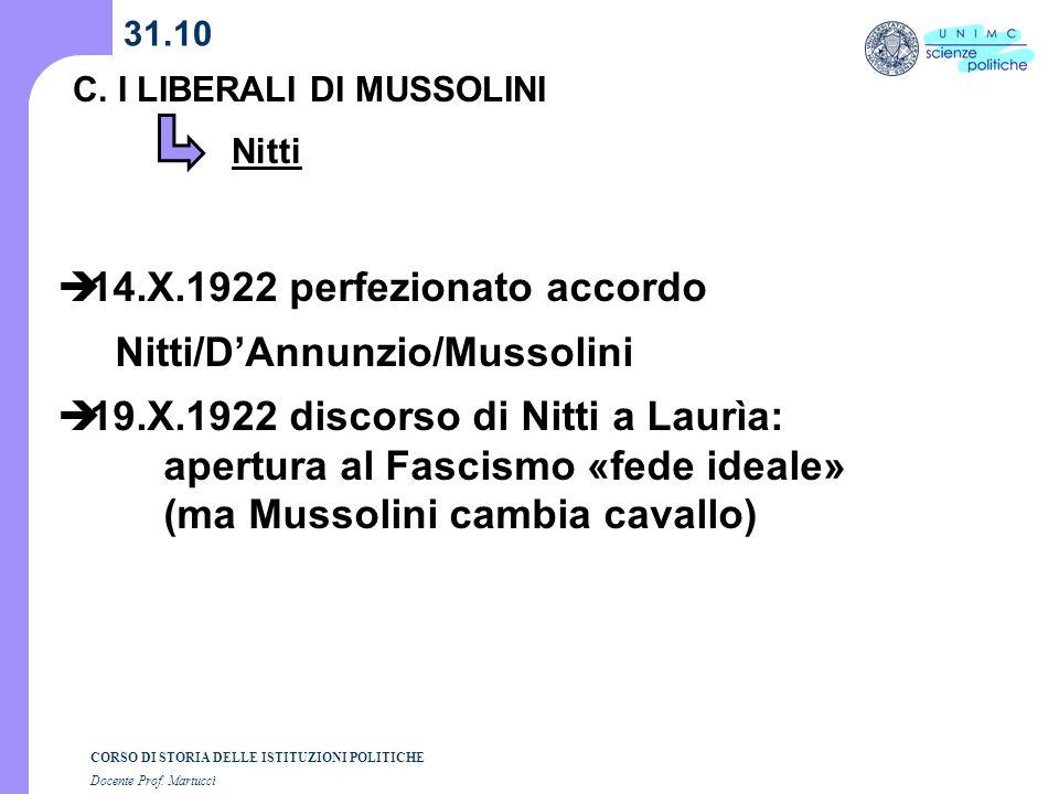 14.X.1922 perfezionato accordo Nitti/D'Annunzio/Mussolini