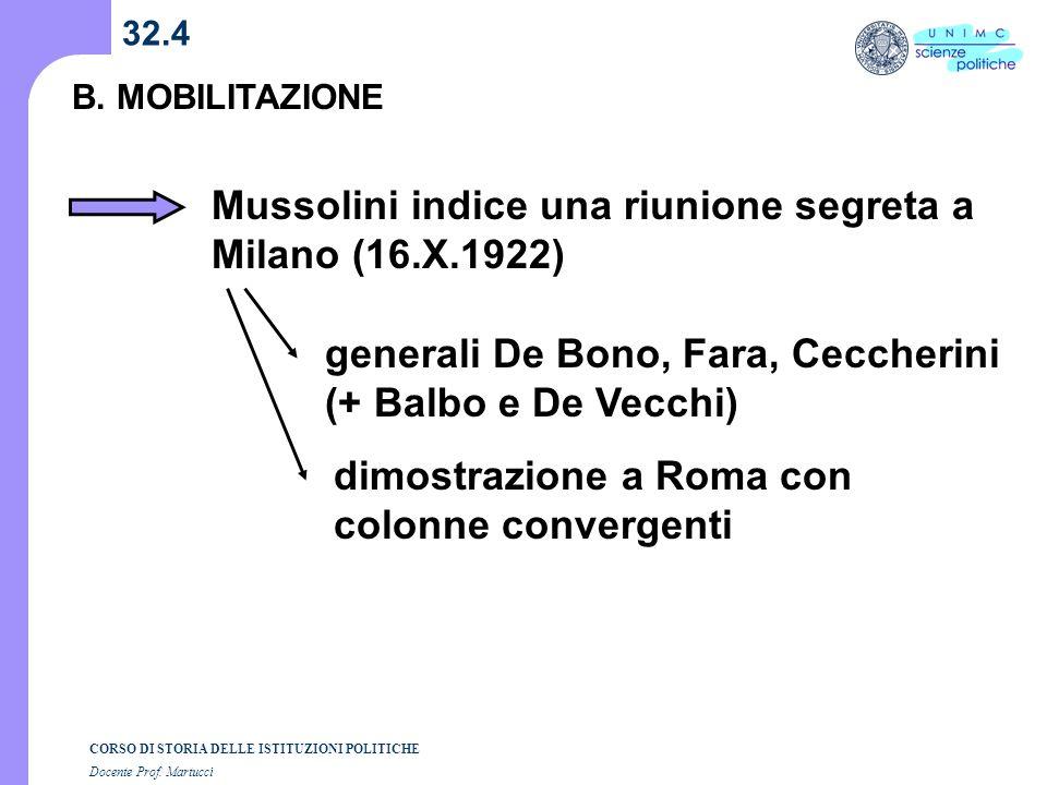Mussolini indice una riunione segreta a Milano (16.X.1922)
