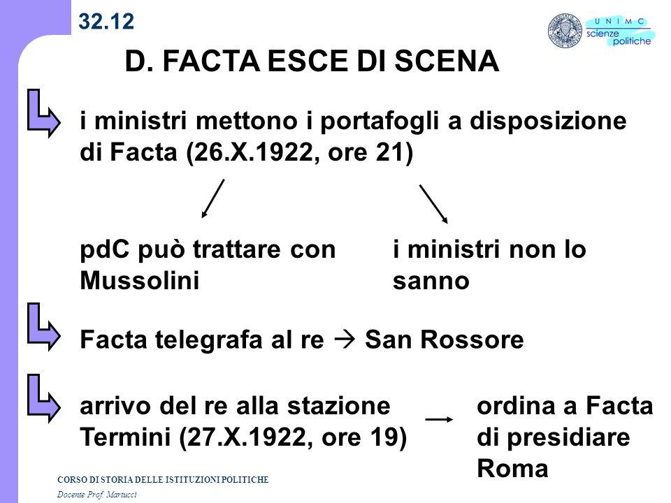 32.12 D. FACTA ESCE DI SCENA. i ministri mettono i portafogli a disposizione di Facta (26.X.1922, ore 21)