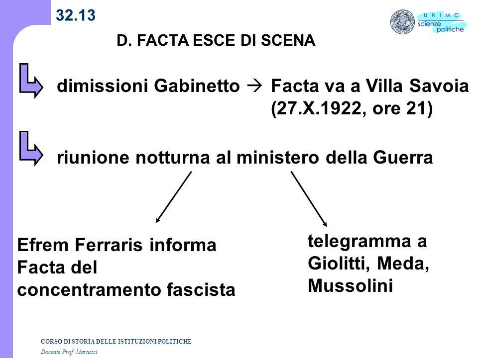 dimissioni Gabinetto  Facta va a Villa Savoia (27.X.1922, ore 21)