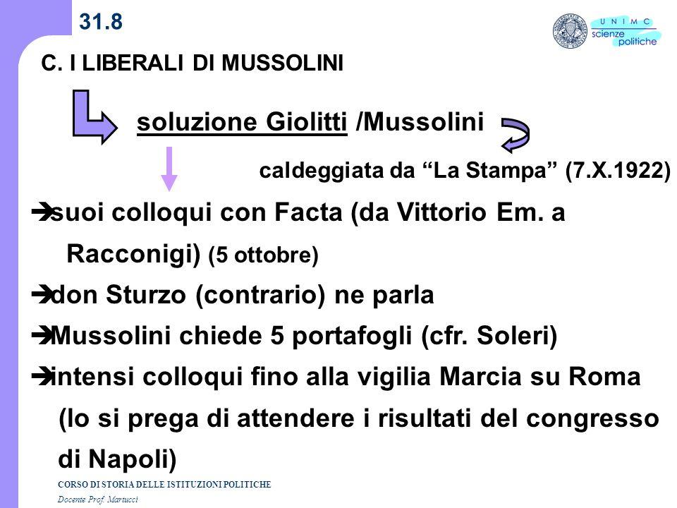 soluzione Giolitti /Mussolini