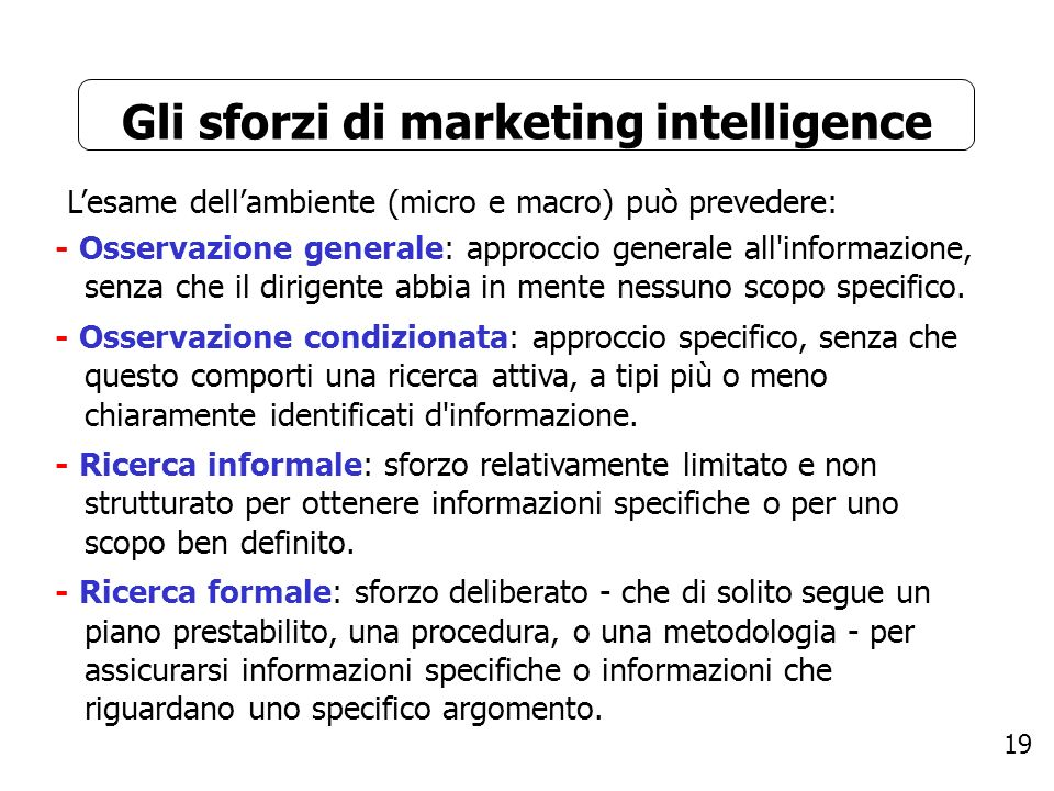 Gli sforzi di marketing intelligence