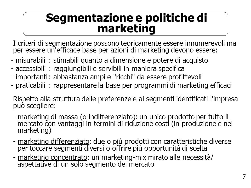 Segmentazione e politiche di marketing