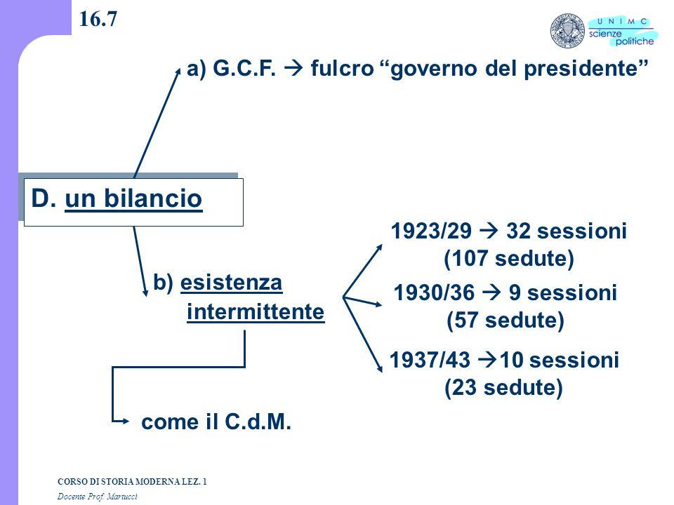 D. un bilancio 16.7 a) G.C.F.  fulcro governo del presidente
