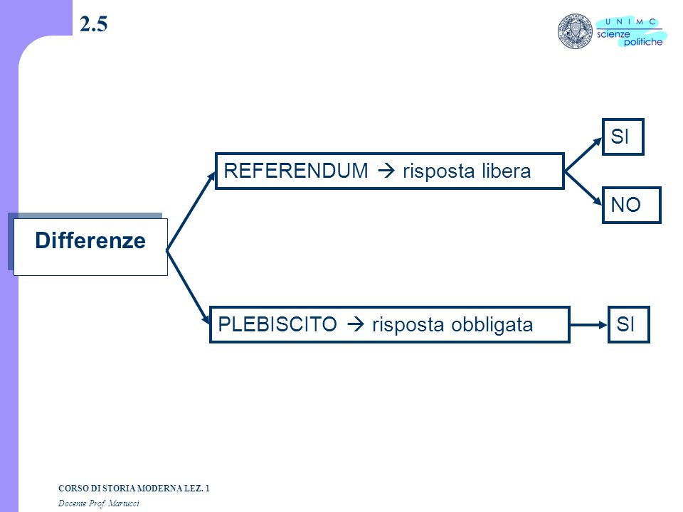 2.5 Differenze SI REFERENDUM  risposta libera NO