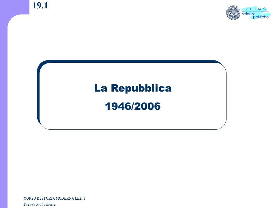 19.1 La Repubblica 1946/2006