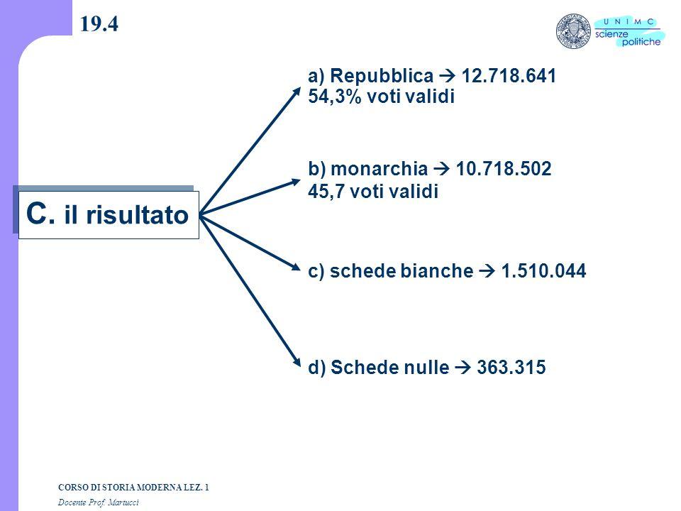 C. il risultato 19.4 a) Repubblica  12.718.641 54,3% voti validi