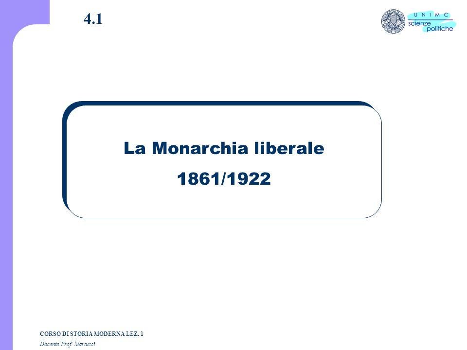 4.1 La Monarchia liberale 1861/1922