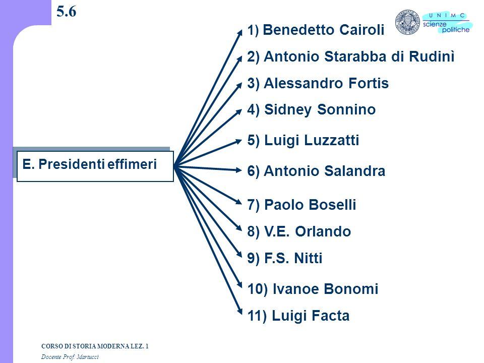 5.6 2) Antonio Starabba di Rudinì 3) Alessandro Fortis