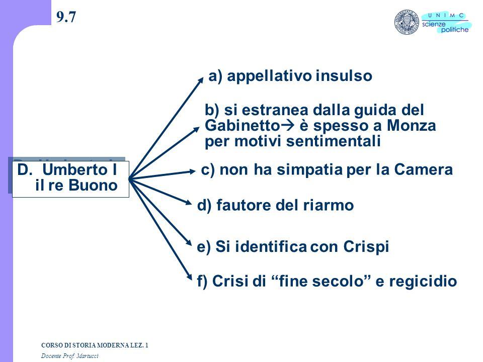 9.7 a) appellativo insulso. b) si estranea dalla guida del Gabinetto è spesso a Monza per motivi sentimentali.