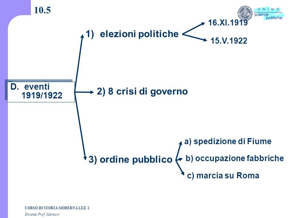 10.5 elezioni politiche 2) 8 crisi di governo 3) ordine pubblico