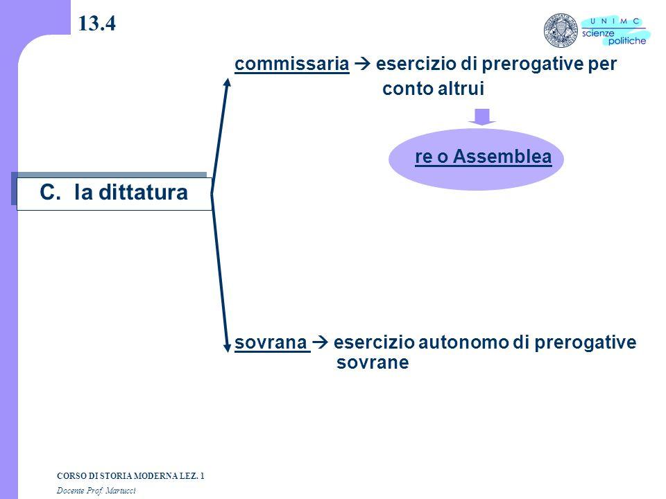 13.4 C. la dittatura commissaria  esercizio di prerogative per