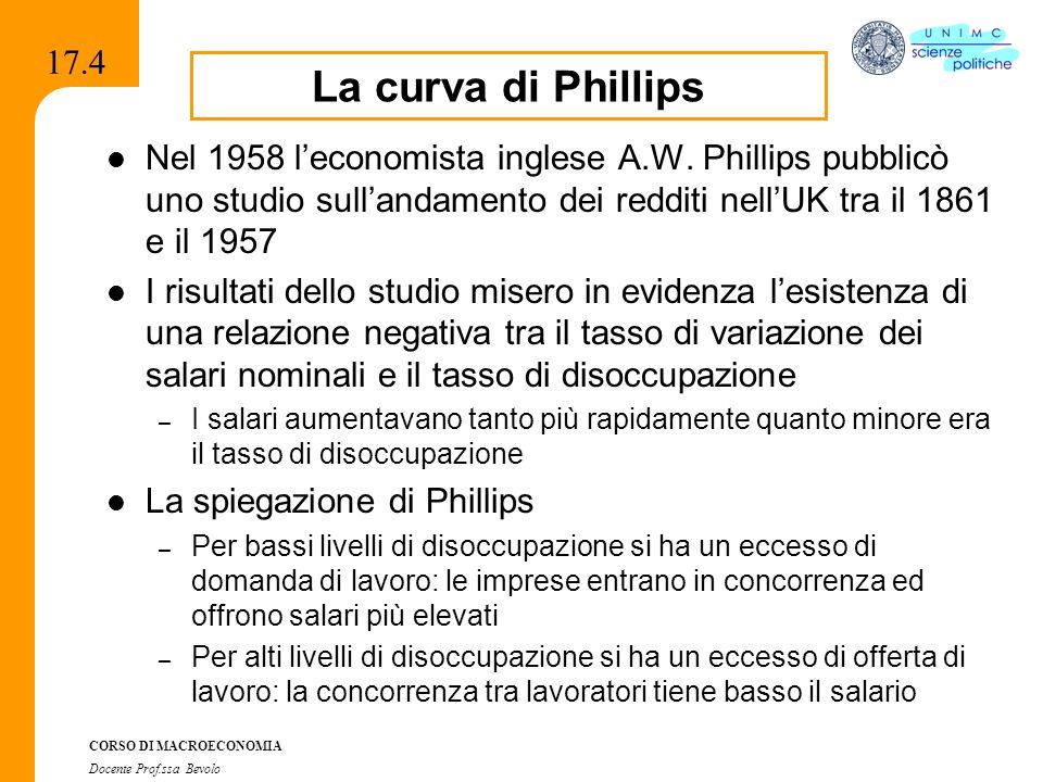 17.4La curva di Phillips. Nel 1958 l'economista inglese A.W. Phillips pubblicò uno studio sull'andamento dei redditi nell'UK tra il 1861 e il 1957.