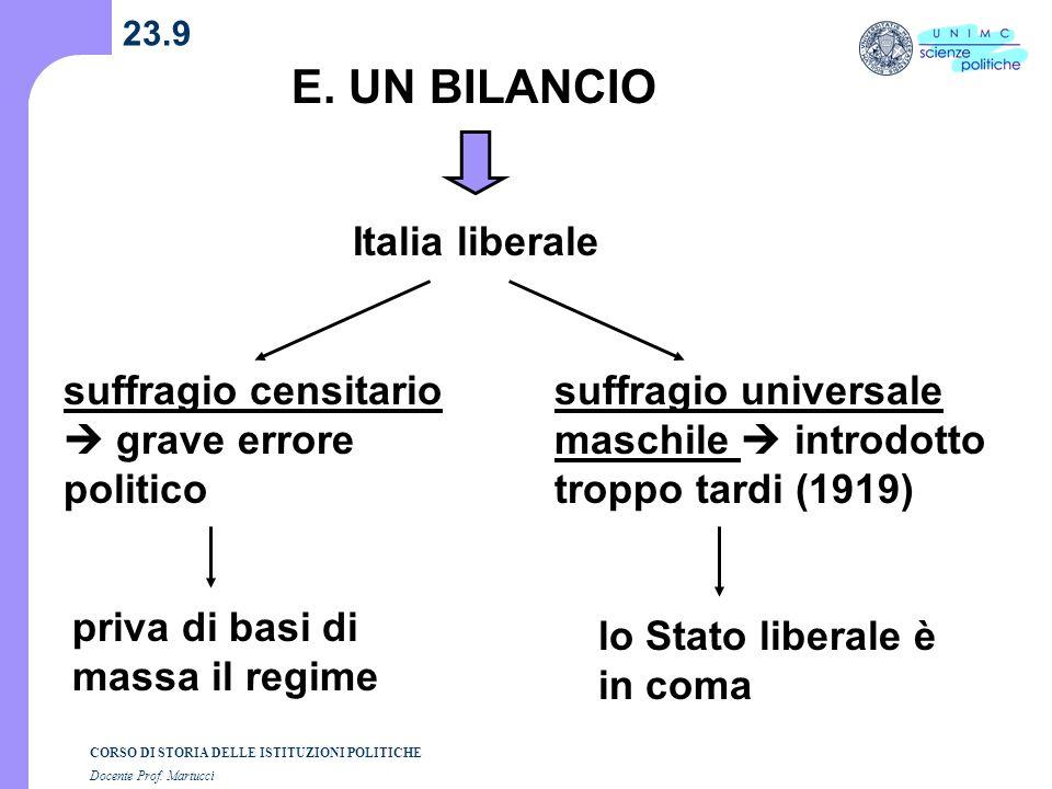 E. UN BILANCIO Italia liberale