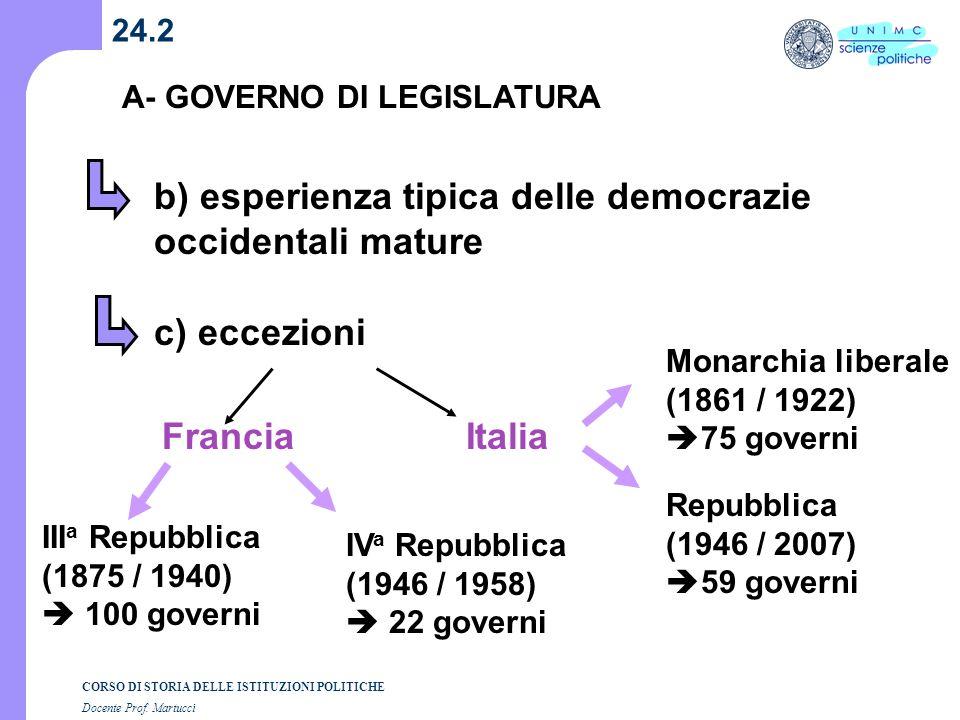 b) esperienza tipica delle democrazie occidentali mature