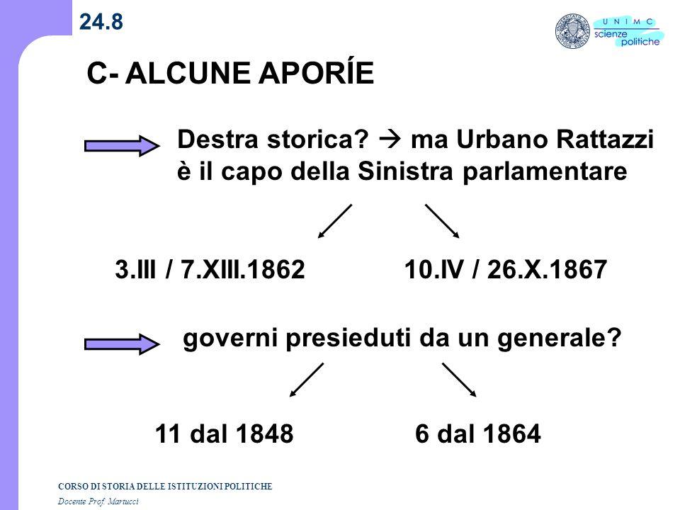 24.8 C- ALCUNE APORÍE. Destra storica  ma Urbano Rattazzi è il capo della Sinistra parlamentare.