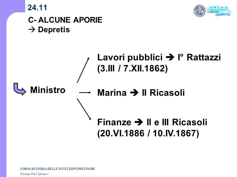 Lavori pubblici  I° Rattazzi (3.III / 7.XII.1862)