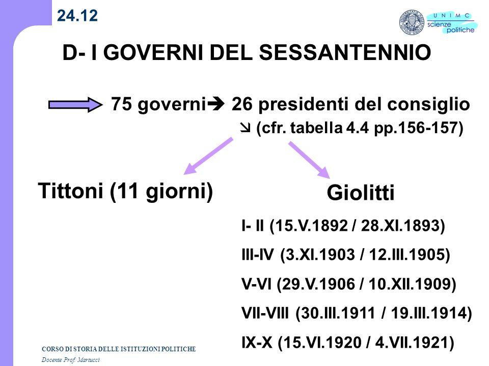 D- I GOVERNI DEL SESSANTENNIO