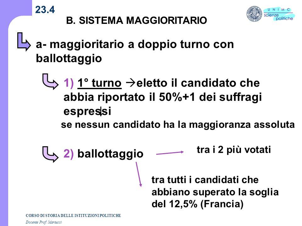 a- maggioritario a doppio turno con ballottaggio