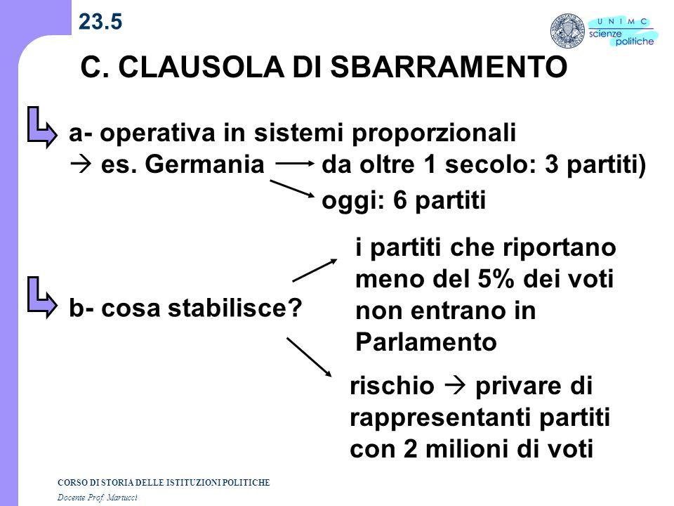 C. CLAUSOLA DI SBARRAMENTO