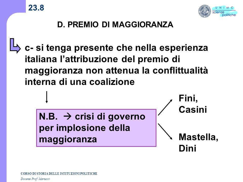 N.B.  crisi di governo per implosione della maggioranza