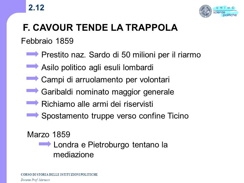 F. CAVOUR TENDE LA TRAPPOLA