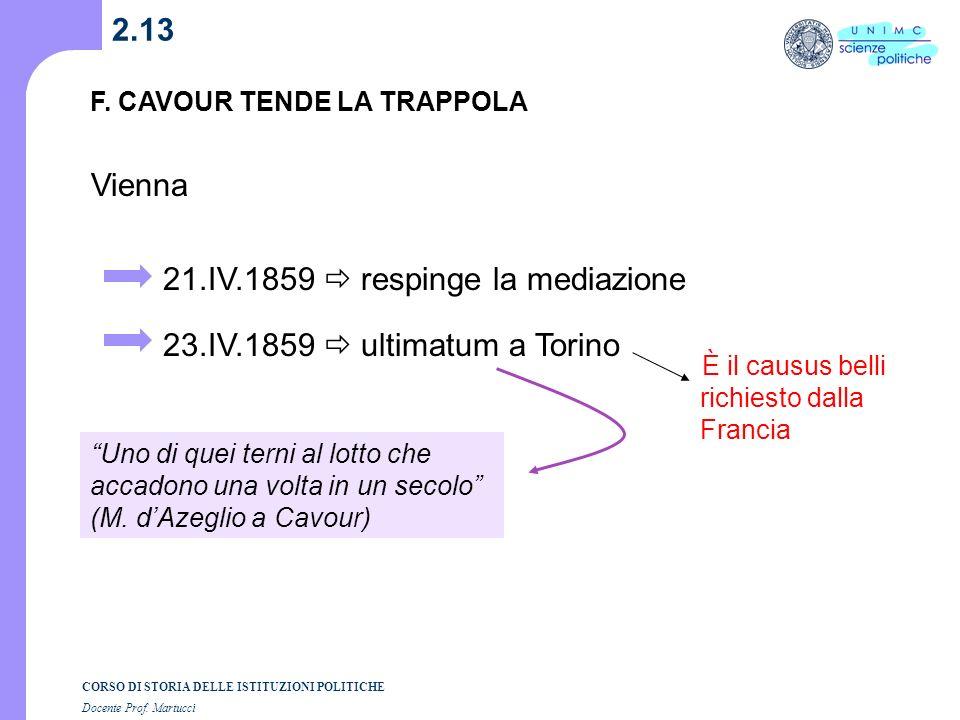 21.IV.1859  respinge la mediazione