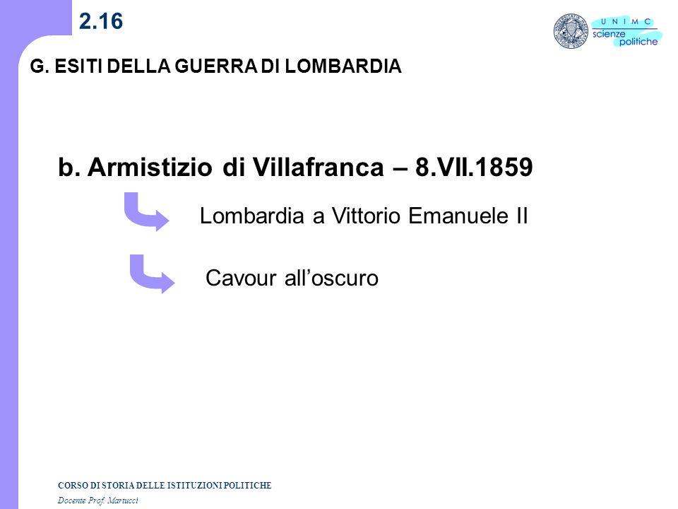 b. Armistizio di Villafranca – 8.VII.1859