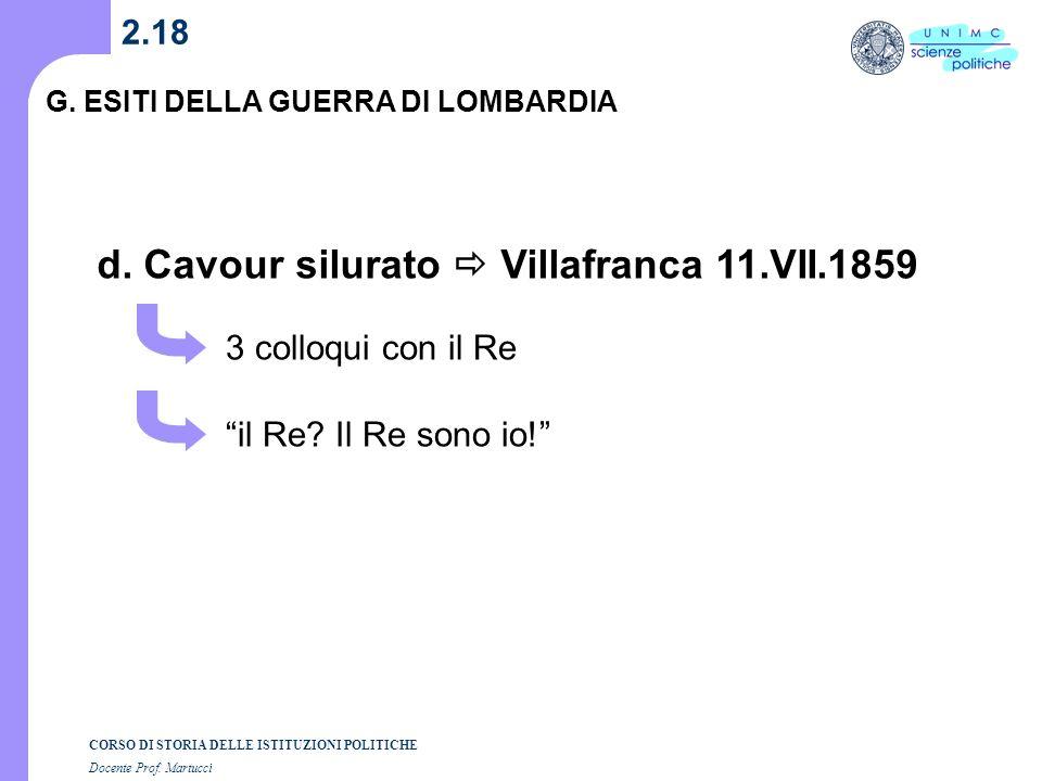 d. Cavour silurato  Villafranca 11.VII.1859