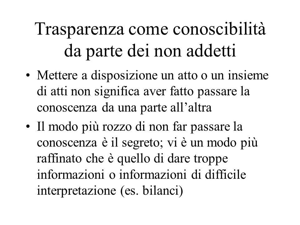 Trasparenza come conoscibilità da parte dei non addetti