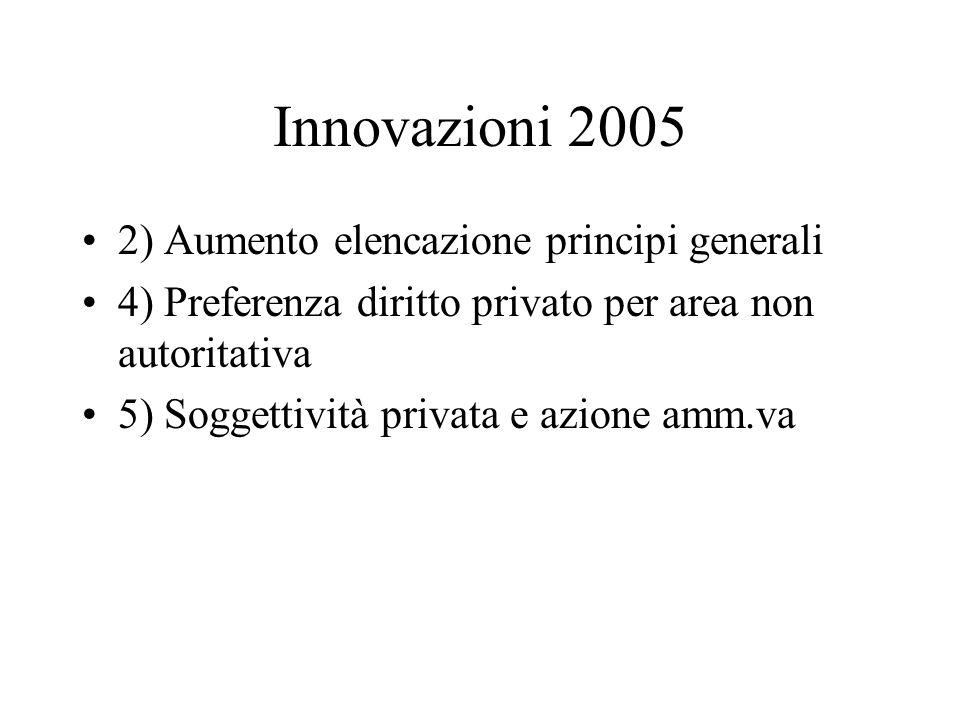 Innovazioni 2005 2) Aumento elencazione principi generali
