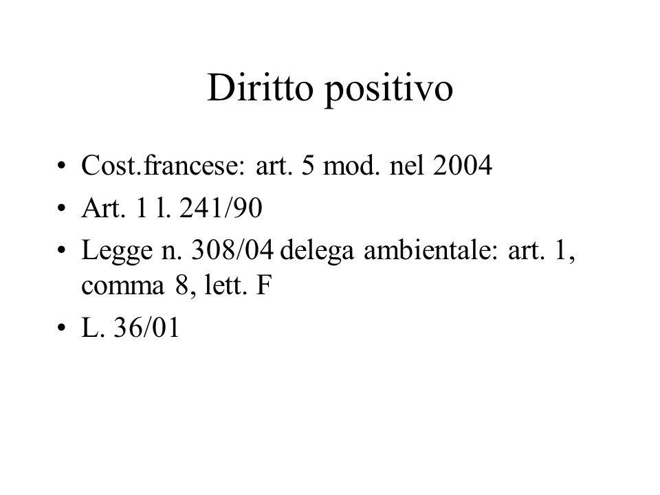 Diritto positivo Cost.francese: art. 5 mod. nel 2004 Art. 1 l. 241/90