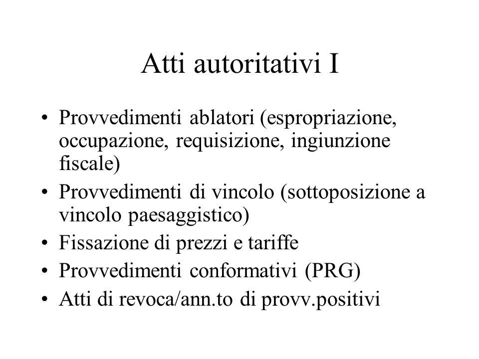 Atti autoritativi I Provvedimenti ablatori (espropriazione, occupazione, requisizione, ingiunzione fiscale)