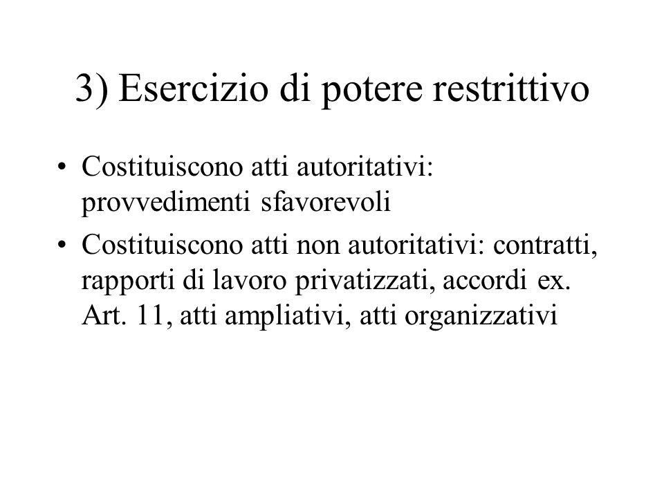 3) Esercizio di potere restrittivo