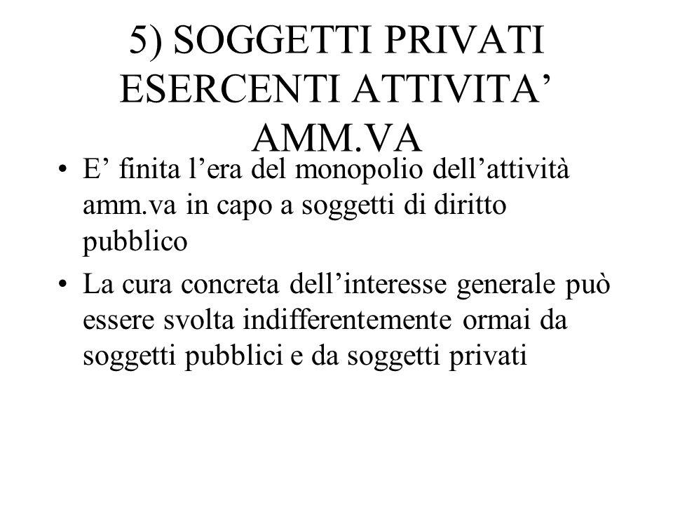 5) SOGGETTI PRIVATI ESERCENTI ATTIVITA' AMM.VA