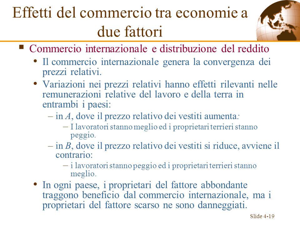 Effetti del commercio tra economie a due fattori